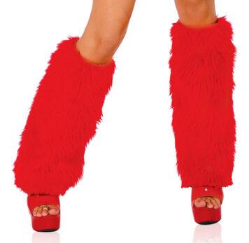 Fur Leg Warmer Red