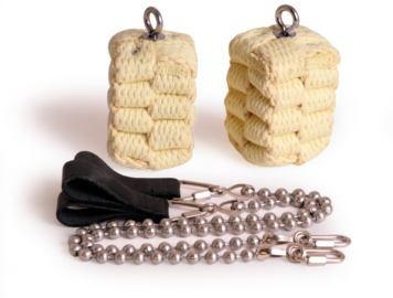 Pair of Large Block Ball Chain Fire Poi